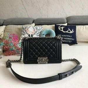 Chanel le boy bags genuine leather